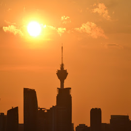 KL Tower by Kristin Cosgrove - Novices Only Landscapes ( city scape, tower, telecommunications, sunset, kuala lumpur )