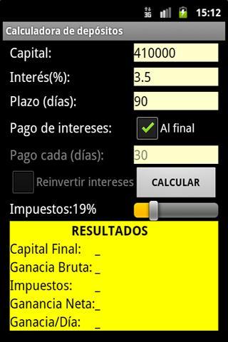 Calculadora de depósitos PRO