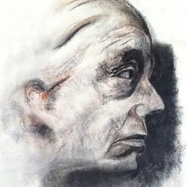 Old Woman profile by Theresa Campbell - Drawing All Drawing ( conte crayon, art, charcoal drawing, old woman, drawing )