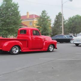 little red truck by Elizabeth Oliver - Transportation Automobiles