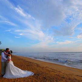 Beach Wedding by Charmini Delgoda - Wedding Bride & Groom ( beach, bride and groom, beach wedding, portrait, photography )