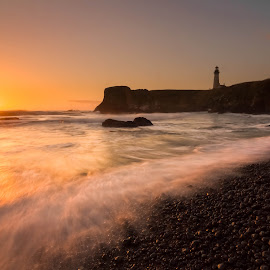 Cobble Stone Beach by Christian Flores-Muñoz - Landscapes Sunsets & Sunrises ( yaquina head, sunset, lighthouse, beach, newport oregon )