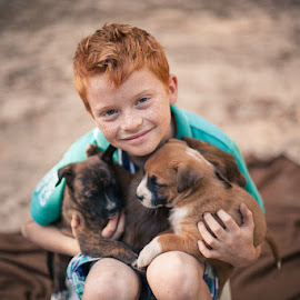 The Love by Fotografia Eva Stachova - Babies & Children Child Portraits ( love, nature, puppy, cute, boy, friend,  )