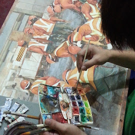 Art washes away from the soul the dust of everyday life by Jaime Gubaton - Painting All Painting ( watercolor, men at work, jaime gubaton, philippine arts, mmda, gubaton,  )