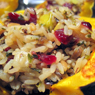 Vegetarian Pear-Cranberry Wild Rice Stuffed Acorn Squash