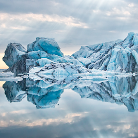 Ice Blue by Marie Otero - Landscapes Waterscapes ( glacier, iceberg, reflection, iceland, lagoon, waterscape, blue, frozen, landscape )