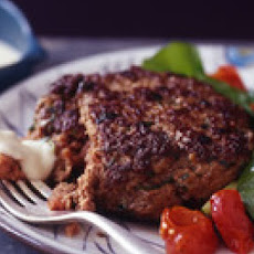Knife-and-Fork Burgers with Provolone Dipping Sauce and Roasted Tomato Salad