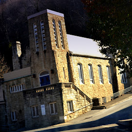 Hands of Hope Church  by Linda Blevins - Buildings & Architecture Places of Worship ( church, street, trees )
