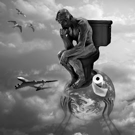 The thinker by Jil Norberto - Digital Art Places ( planet, sky, toilet, plane, birds, toilet paper )