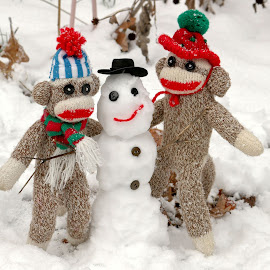 Wally and Petey Winter Friend by Jennifer Wheatley-Wolf - Artistic Objects Toys ( sock monkeys, winter, wally, petey, snowman, jennifer wheatley wolf )
