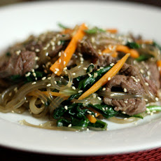 Dinner Tonight: Korean Japchae (Noodles with Spinach, Carrot, and Beef)