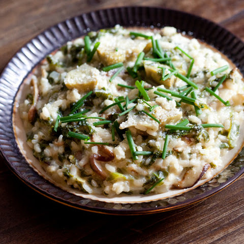 Baby Artichoke Risotto with Shiitake Mushrooms, Mustard Greens & Goat Cheese