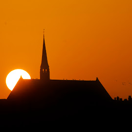 Church sunset by Kelly Murdoch - Landscapes Sunsets & Sunrises ( colour, orange, england, uk, church, sunset, isle of wight, birds, sun, ztam )