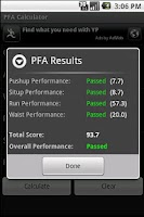 Screenshot of PFA Calculator