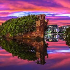 Sunrise on the Shipwreck by Michael Lucchese - Landscapes Sunsets & Sunrises ( homebush, shipwreck, olympics, australia, long exposure, sunrise, sydney,  )
