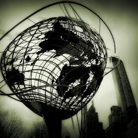 Windy Day by Kenneth Cox - Digital Art Places ( abstract, black and white, abstract photography, new york city, city )