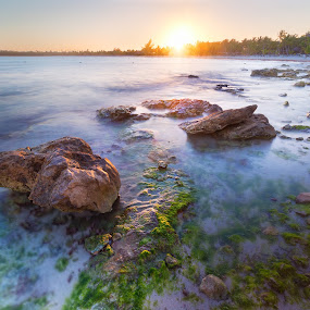 Warm light by Wojciech Toman - Landscapes Sunsets & Sunrises ( cancun, water, hdr, mexico, long-exposure, colors, sunset, yucatan, landscape, quintana roo )
