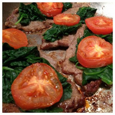 Sauté Veal with Spinach and Tomato in a Creamy Sauce