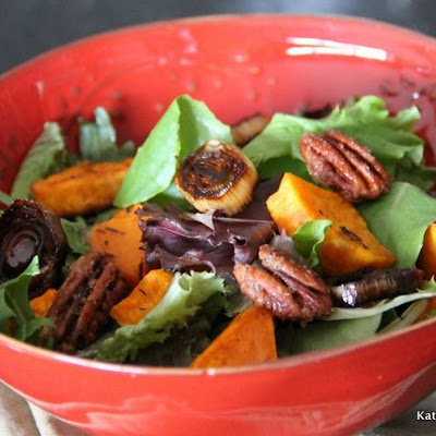 Roasted Sweet Potato and Leek Salad