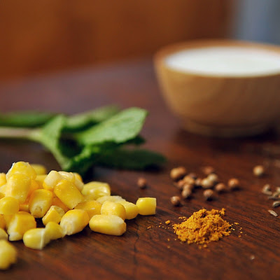 Buttermilk Corn Soup with Curry & Mint