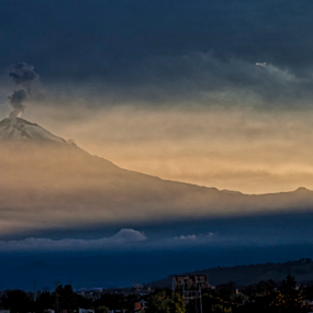 SUnset and Popocatepetl by Cristobal Garciaferro Rubio - Landscapes Travel ( volcano, popo, popocatepetl, snowy volcano, smoking volcano )