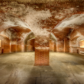 Fort Point artistic arches by Kathy Dee - Buildings & Architecture Public & Historical ( building, brick, white, francisco, indoors, fort, shadows, point, san, red, arches, inside, artistic, historical )