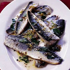 Grilled Herrings With Mustard & Basil Dressing