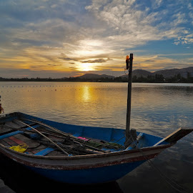sunset at Hua Hin district,Thailand by Komkrit Muangchan - Transportation Boats ( wedding, bride, ceremony, groom )