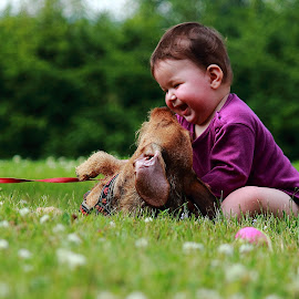 having a great time by Mona Martinsen - Babies & Children Babies ( playing, baby, cute, dog, , KidsOfSummer )