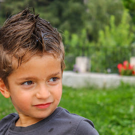 Krisko by Daniel Chobanov - Babies & Children Child Portraits ( child, wet, bulgarian, hair, bulgaria )