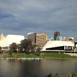 Adelaide across the River by Pamela Howard - Buildings & Architecture Other Exteriors ( skyline, sky, torrens, buildings, adelaide, river, city )
