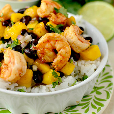 Chili-Lime Shrimp Bowls with Black Bean-Mango Salsa