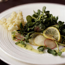 Purslane, Meyer Lemon, and Pear Salad with Kaffir Lime Vinaigrette