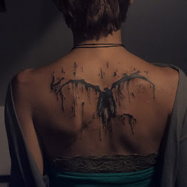 Fallen by Goran Matejin - People Body Art/Tattoos ( angel, girl, wings, fallen, back, tattoo, black, person, people )