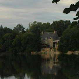 riverfront reflections by Laurie Voyer - Buildings & Architecture Homes ( water, reflection, house, landscape, river )
