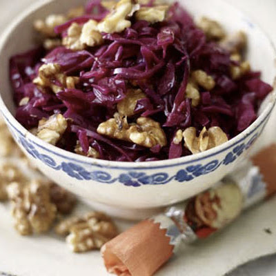 Red cabbage with Bramley apple & walnuts