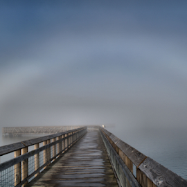A foggy arch by Tina Wiley - Buildings & Architecture Bridges & Suspended Structures ( water, clouds, washington, foggy, nature, arch, fog, trail, outdoors, weather, walkway, landscape,  )