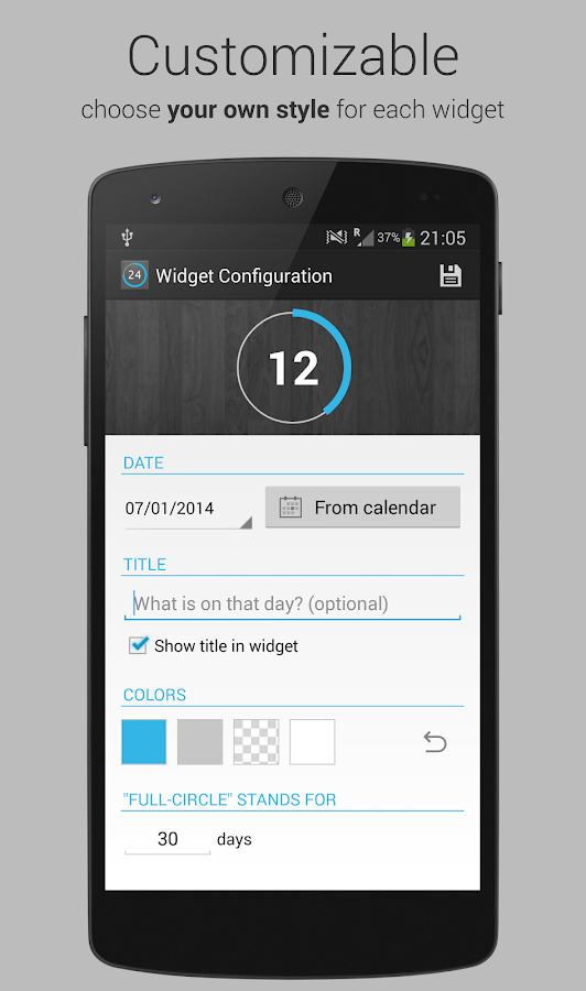 Countdown Widget for Events Screenshot 1