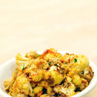 Roasted Cauliflower with Hot Cherry Peppers and Bread Crumbs