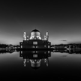 KK City Mosque by Eric Tai - Buildings & Architecture Places of Worship ( black and white, b&w, landscape,  )