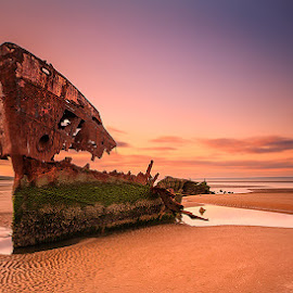 Shipwrack by Peter Krocka - Landscapes Sunsets & Sunrises ( ireland, sunset, ocean, beach, ocean view,  )