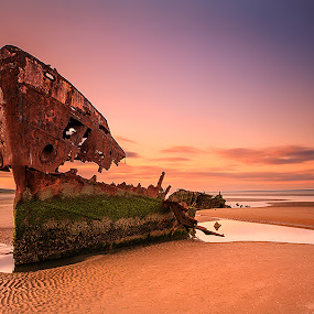 Shipwrack by Peter Krocka - Transportation Boats ( ireland, sunset, ocean, beach, ocean view,  )
