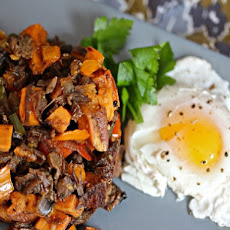 Whiskey Brisket and Sweet Potato Hash