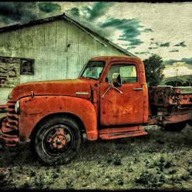Hard Sell by Nancy Young - Transportation Automobiles ( dillon, 2014, montana, sunset, july, sunrise, rusty,  )