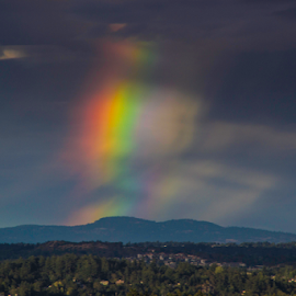 Giant Rainbow by Doug Clement - Landscapes Weather ( water, nature, travel, landscape, rainbow, rain )