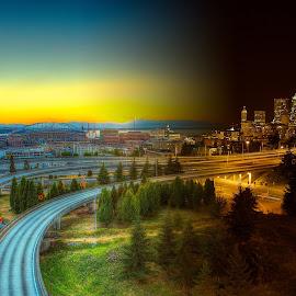 Day and Night by Tom Davidson - Landscapes Travel ( washington, time, skyline, seattle, twilight, ixtussy,  )