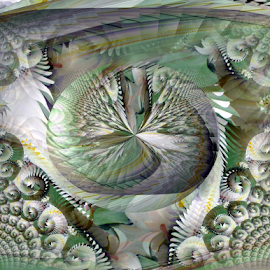 FWLK 3 by Tina Dare - Digital Art Abstract ( abstract, whirls, greens, patterns, designs, distorted, curls, curves, shapes )