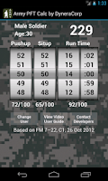 Screenshot of Army PFT Calculator by Dynera