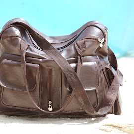 Packed and Ready by Marcus Mendoza - Artistic Objects Clothing & Accessories ( sand, accessory, bag, brown, beach )