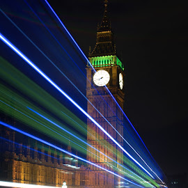 Big Ben long exposure by Joe Tucker - Buildings & Architecture Statues & Monuments ( bus, iconic, light trails, night time, long exposure, big ben )